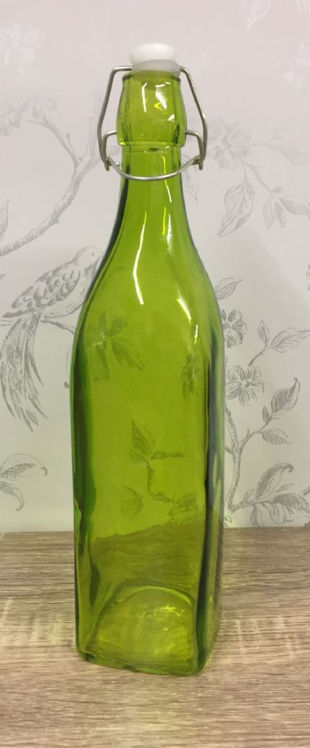 75cl Square Shaped Green Glass Korken Bottle